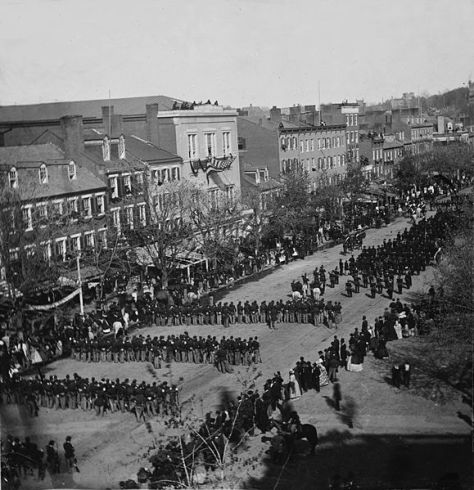 Abraham Lincoln's funeral on Pennsylvania Ave. Washington, D.C. on the 19th of April 1865.