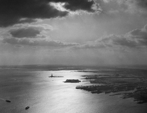 An aerial view of the Statue of Liberty in New York Harbor, on January 27, 1965.