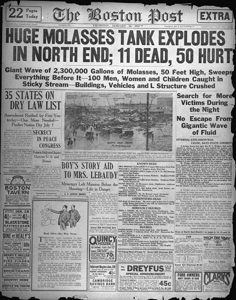 Boston Post edition of January 16, 1919 describing the Boston Molasses Disaster.