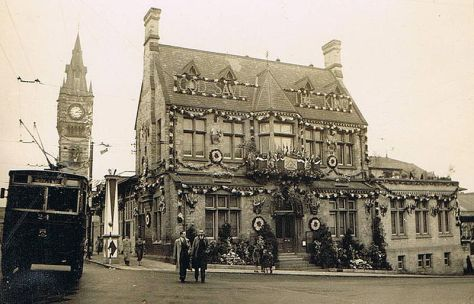 Darlington's Town Hall Decorated for Coronation of King George VI. 12th May 1927.