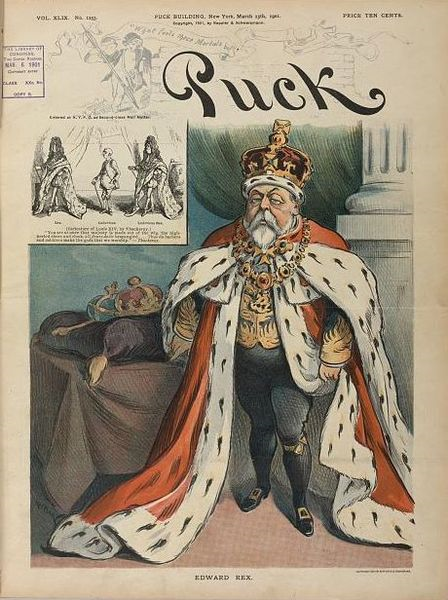 Edward VII, King of Great Britain, with an insert showing (Caricature of Louis XIV, by Thackeray). 13th March 1901.