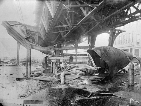 Elevated train structure damaged by shrapnel from the 1919 Boston Molasses Disaster.