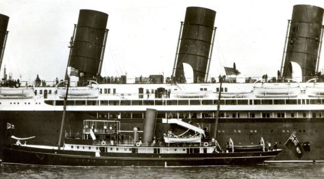 King George V and Queen Mary board the RMS Mauretania on the 11th of July, 1913. The photograph was taken in Liverpool, and recorded the first time a reigning monarch boarded a ship produced by Cunard.