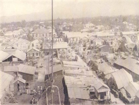 Kingston_(1907) View of Kingston Jamaica damaged after the earthquake in 1907