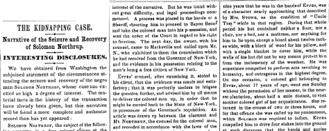 New York Times coverage of Solomon Northup's case. 19th century.