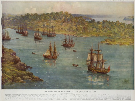 Reproduction of John Allcot (1888–1973), The First Fleet in Sydney Cove, January 27, 1788, from The Sydney Mail, January 26, 1938. National Library of Australia, Canberra.