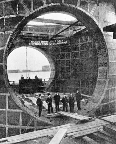 Section_of_the_Blackwall_Tunnel A photograph showing a framing section of the Blackwall Tunnel being constructed at the Thames Ironworks. 1895.