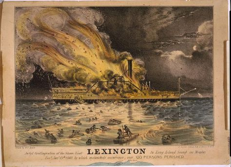 The Lexington was a paddlewheel steamboat operated aNortheastern United States between 1835 to 1840 before sinking in January 1840 due to an onboard fire.-Awful_conflagration_of_the_steam_boat_Lexington