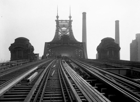 The Queensboro Bridge, showing reconstruction of tracks looking east, on November 22, 1929.