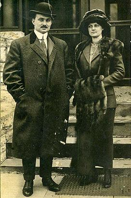 This photo shows the Snyders, taken April 18, 1912, the day they disembarked from the ship Carpathia after surviving the sinking of the Titanic.