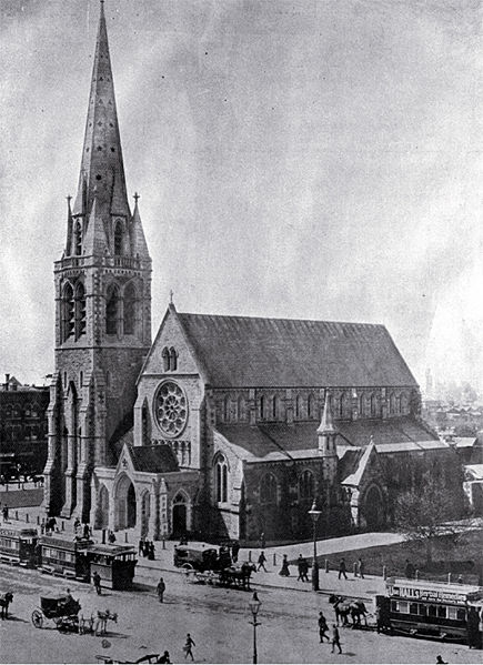 ChristChurch Cathedral, Christchurch New Zealand. 1900.
