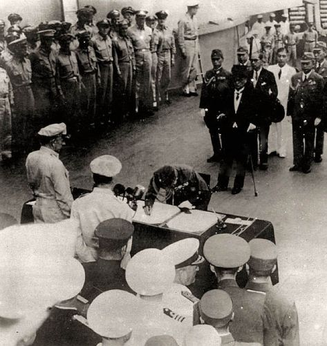 Japanese officials surrendering to the Allies on September 2, 1945 in Tokyo Bay, ending World War II.
