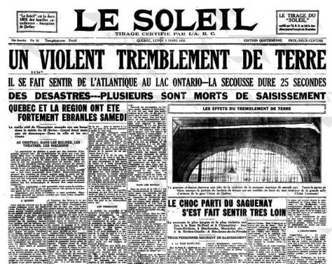 Le Soleil reports on the 1925 Charlevoix-Kamouraska Earthquake