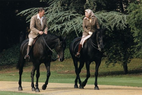 On the 8th of June, 1982, US President Ronald Reagan went horse riding with Queen Elizabeth in the grounds of Windsor Castle.