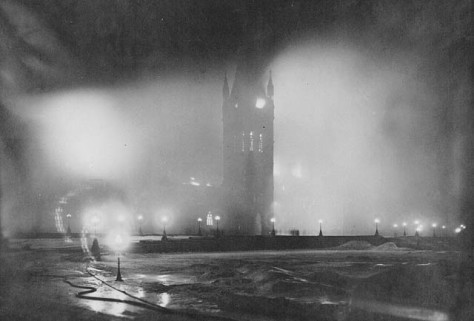 Parliament_Ottawa_in_fireCentre Block fire, Parliament Buildings. Photograph taken at 1230 a.m., a few minutes before the collapse of the tower. 3-4th February 1916.