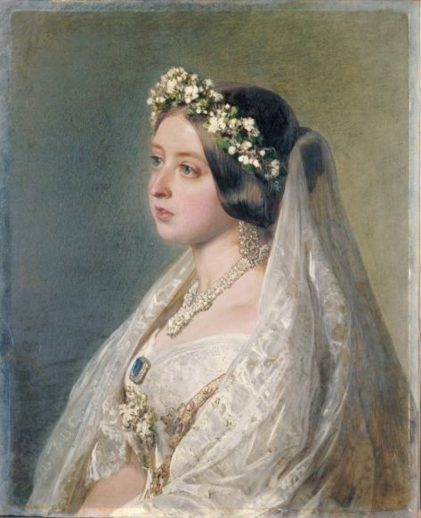 Queen_Victoria,_1847 Wedding Dress Portrait After Her Wedding.