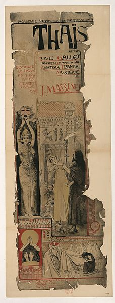 1895 poster for Jules Massenet's opera Thaïs. This dates it to the original run.