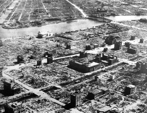 780px-Tokyo_1945-3-10-1The Bombing of Tokyo (東京大空襲 Tōkyōdaikūshū), often referred to as a series of firebombing raids, was conducted by the United States Army Air Forces during the Pacific campaigns of World War II.