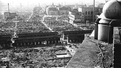 Aftermath of WWII US bombing of Tokyo, 9-10th March 1945.