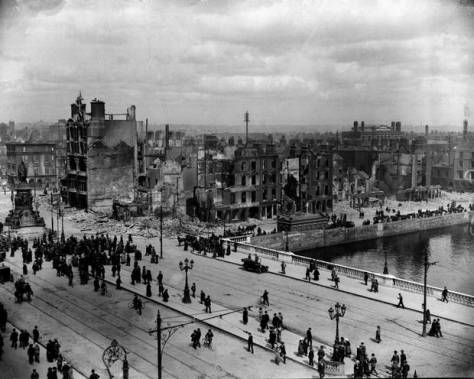 Easter-Rising-1921-File photo dated 11-05-1916 of Sackville Street (O'Connell St) and the River Liffey at Eden Quay showing the devastation wrought during the 'Easter Rising'.