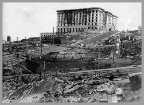 fairmont2 The Fairmont San Francisco View from Jackson & Mason Streets after the 1906 Fire