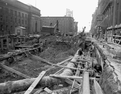 Front_street_excavationFront Street in Toronto being excavated in 1950 for the new subway.