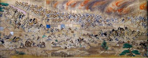 Handscroll depicting scenes from the Great Fire of Meireki. Japan.