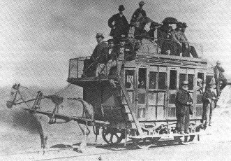 Horsetrain_1870Horse-powered train on the Swansea and Mumbles Railway, Wales.