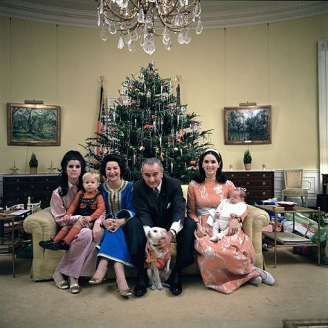 Lyndon_B__Johnson's_family_Xmas_Eve_1968Lyndon B. Johnson and his family on Christmas Eve in 1968. Yellow Oval Room, White House.