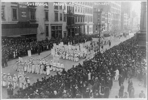 Pre-election_suffrage_parade_NYCPre-election suffrage parade, New York City, October 23, 1915. 20,000 women marched.