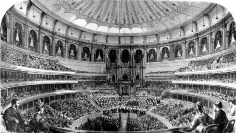RAH_Grand_Opening_by_Queen_Victoria_29_March_1871_The_GraphicThe grand opening of the Royal Albert Hall in London by Queen Victoria on 29 March 1871 as illustrated in The Graphic, an illustrated newspaper of the time.
