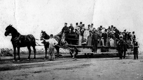 Tram on the Swansea and Mumbles Railway in Wales 1897.