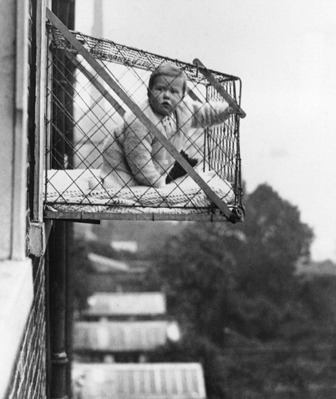 1934 The baby cage, patented in the United States in 1922, was invented for babies in overcrowded urban areas to get some fresh air.