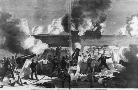 Attack_on_Fort_Sumter Bombardment of Fort Sumter by the batteries of the Confederate states 12th April 1861.