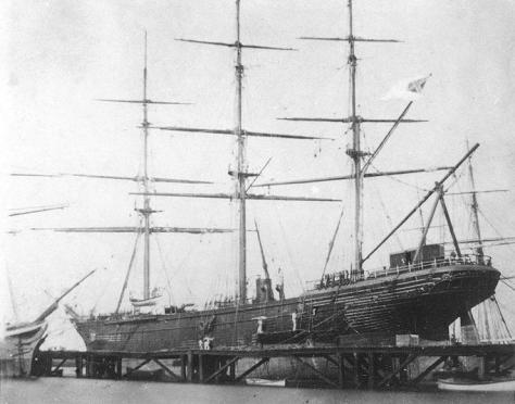 CSS Shenandoah in dry dock in Williamstown, Victoria, Australia, 1865. The last shot fired in the US American Civil War 22nd June.