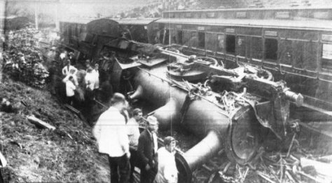 Esholt_Junction_rail_crash_-_1892On 9 June 1892, a passenger train overran signals and was in collision with another at Esholt Junction, Yorkshire. Five people were killed and 30 were injured.