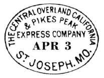 First_Westbound_Pony_Express_Overland_Post-Mark_Apr3Pony Express Postmark The first westbound Pony Express trip left St. Joseph on April 3, 1860 and arrived in San Francisco on April 14.