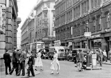 Leadenhall Street from Bishopsgate, 1955.-by-Ben-Brooksbank 14th July 1955.