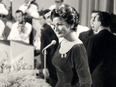 Lys Assia at the Eurovision Song Contest in Lugano in 1956.