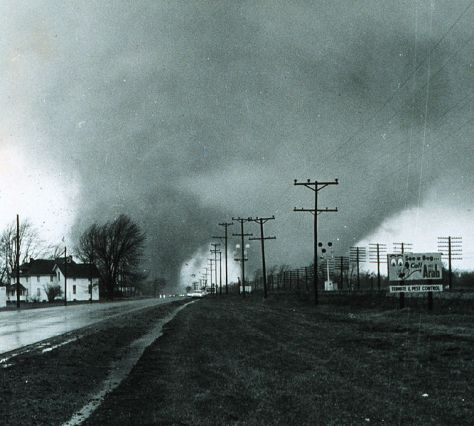 Picture of the double tornado that hit the Midway Trailer Park in Indiana, killing 14. 11th April 1965.
