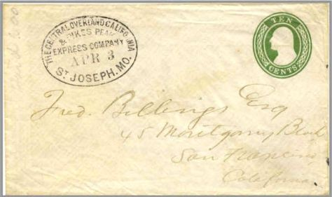 Poney Express cover of the United States. First Westbound Pony Express cover. Only one known to exist. Postmarked April 3, 1860.