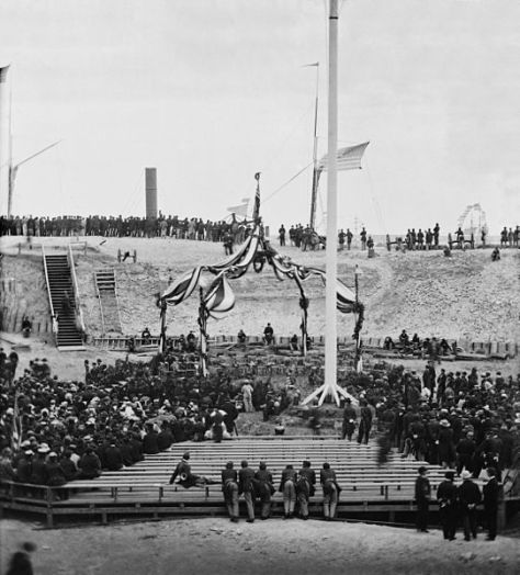 View of the flag-raising over Fort Sumter, Charleston Harbor, Charleston, South Carolina, April 14, 1865, with the arrival of Major General Robert Anderson and guests.