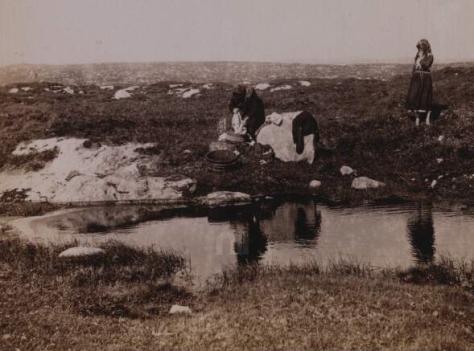 Women washing clothes. Connemara, Ireland circa 1892. By Major Ruttledge-Fair.