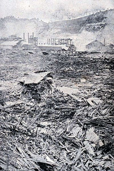 The aftermath of the Johnstown Flood (Johnstown, Pennsylvania). The Debris above the Pennsylvania Railroad Bridge. In History of the Johnstown Flood by Willis Fletcher Johnson, 1889.