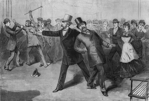 800px-Garfield_assassination_engraving_This engraving of the assassination appeared in Frank Leslie's Illustrated Newspaper on the 16th of July the same year. The President is being supported by Secretary of State James G. Blaine.