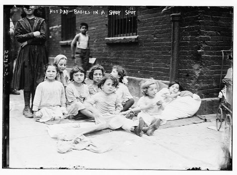 Hot day-babies in a shady spot for the 1911 Eastern North America heat wave