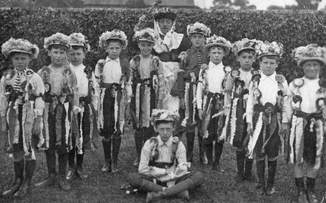 Whit-Monday 1923 - Morris dancers of Statham with Ned Rowles at The Star Inn bowling green