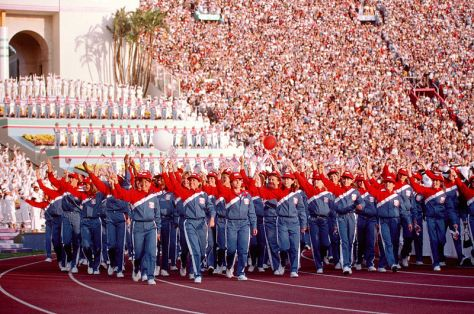 800px-US_Olympics_Team_1984The 1984 U.S. Olympic team march into the Los Angeles Coliseum during the opening ceremony for the 1984 Summer Olympics.