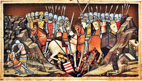 Battle_of_Ménfő_and_the_murder_of_Samuel_(Chronicon_Pictum_050)Battle of Ménfő 14th Century ImageFought in 1044