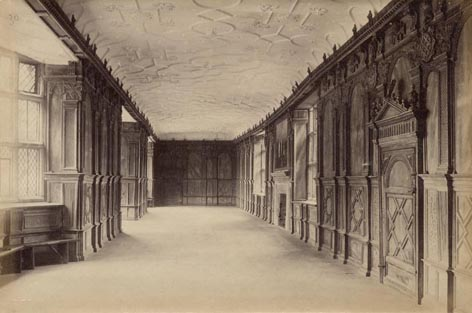 Haddon Hall's long gallery c.1890 Derbyshire, England. Country House.